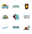 Check at airport icons set flat style vector image vector image