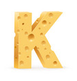 cheese font k letter on white vector image vector image
