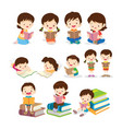 childrens reading book various actions vector image vector image