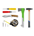 construction toolsset of toolsscrewdriver hamme vector image