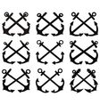 Crossed anchor silhouettes set vector image