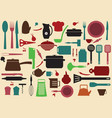 cute kitchen pattern vector image vector image