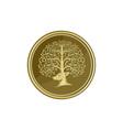 Deer Head Tree Antler Gold Coin Retro vector image vector image