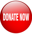 donate now red round gel isolated push button vector image vector image