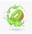 fresh kiwi fruit juice splashing realistic 3d vector image vector image