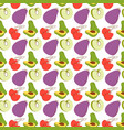 fruit pattern with coloring eggplant avocados vector image