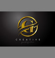 g golden letter logo design with circle swoosh vector image vector image