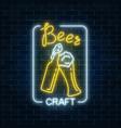 glowing neon beer craft signboard in rectangle vector image vector image
