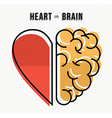 Heart and brain concept design in modern style vector image