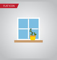 isolated window flat icon flowerpot vector image vector image