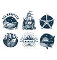 marine print set with sea ship starfish and whale vector image vector image