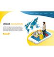 mobile navigation landing page website vector image vector image