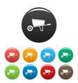 one wheel barrow icons set color vector image vector image