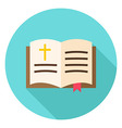 Open Christian Bible Book with Bookmark and Cross vector image vector image