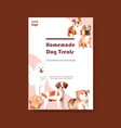 poster template with dogs and food design vector image vector image