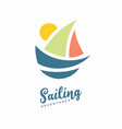 sailing adventures logo with boat vector image