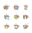 set of coffee logo combination drink and tea vector image vector image