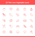 Set of Thin Line Stroke Vegetable Icon vector image vector image