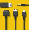 Set Usb cables and flash cards in flat style vector image