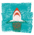 shark jaws blue sea waves background vector image vector image