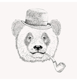 Sketch panda face with black bowler hat and vector image vector image