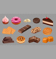 sweets collection realistic cookies chocolate vector image vector image