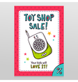 Toy shop sale flyer design with baby monitor vector image vector image