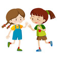 two happy girls playing vector image