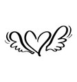 valentines day hand drawn calligraphic vector image vector image