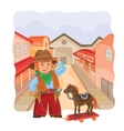 little cowboy with a wooden vector image