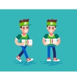 Pizza courier characters in flat design vector image