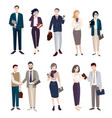 set of business people men and women in office vector image