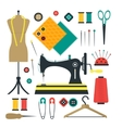 Sewing Equipment and Tools Set vector image