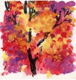 Watercolor background with autumn tree leaves vector image