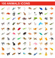 100 animals icons set isometric 3d style vector image vector image