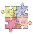 Autism puzzle simbol vintage vector image vector image
