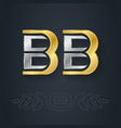 b and - initials bb - metallic 3d icon