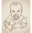 baby with a pacifier drawing vector image vector image