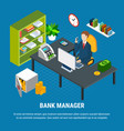 banking manager isometric composition vector image vector image
