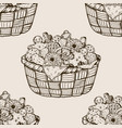 basket with cookies seamless pattern engraving vector image