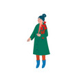beautiful woman dressed in green coat and knitted vector image vector image