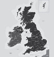 black and white map of the uk and ireland vector image