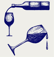 bottle wine and glasses vector image
