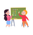 boy learns count arithmetic lesson for toddlers vector image vector image
