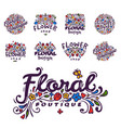 bright badge for flower shop decorative hand drawn vector image vector image