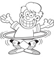 Cartoon boy using a hula hoop vector image vector image