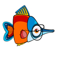 Cartoon colored fish with glasses vector image