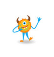 cartoon yellow fluffy horned cheerful monster vector image
