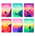 climber climbs the mountain brochure cards set vector image