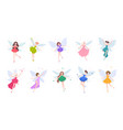 collection cute beautiful fairies in various vector image